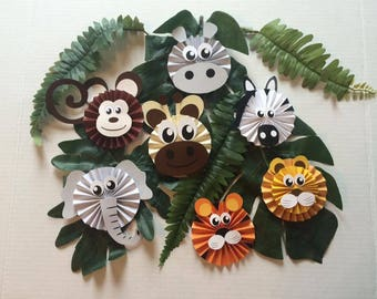 12 Paper Fan Jungle Animal Cupcake Toppers - mix from 7 animals