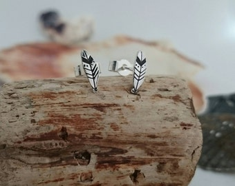 Feather Earrings - Sterling Silver Feather Studs - Silver Earrings - Hand cut - Handstamped - Boho - Festival Jewellery  Made in England