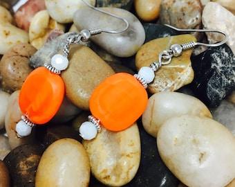 Orange and white drop earrings