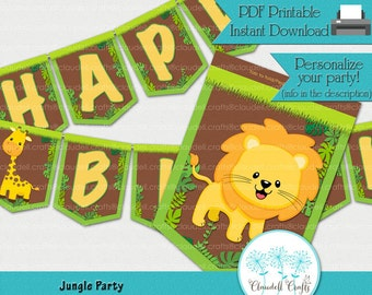Jungle Party Birthday Party Printable Banner