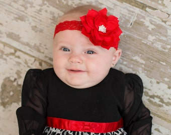Red Lace Headband, Christmas Headband, Red Flower Headband, Christmas Baby Headband, Newborn Headband, Red Headband, Christmas Hair Bow