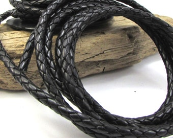 Black Braided Leather Bolo Cord, 5mm Leather Cord, 1 Yard Colored Braided Leather Cord, Leather Necklace Cord, Item 1157ct