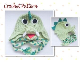 Crochet Pattern Animal Hat Dinosaur Hat Dragon Hat earflap Hat beanie character hat novelty hat