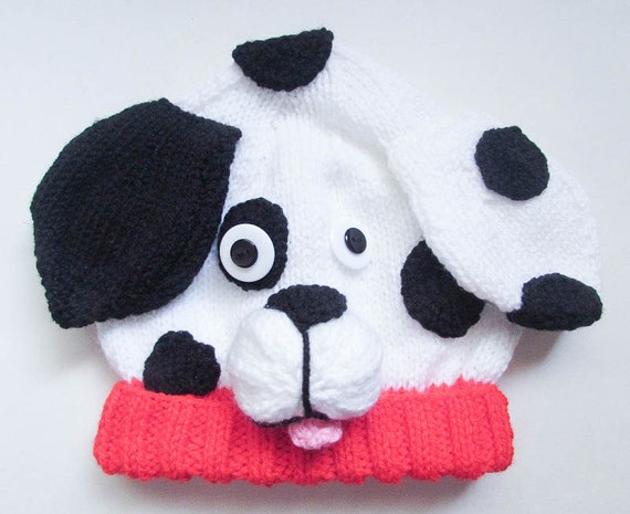Dog Baby Hat Knitting Pattern : Knitting Pattern Dalmatian Puppy Dog Baby Beanie Hat Animal Hat Character Hat...