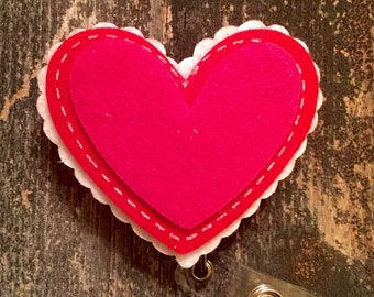 Valentine Pink Heart Badge Holder