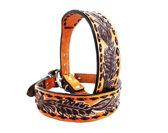 MadcoW Western Style Buck Stitched Floral Tooling Canine Leather Dog Collar Handmade Fully Adjustable