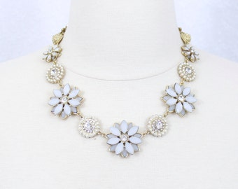White Flower Necklace White and Gold Necklace Holiday Jewelry