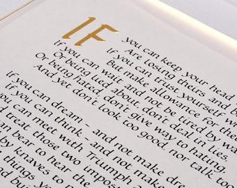 IF Rudyard Kipling, Calligraphy IF Kipling. Gift for a man. Gifts for men. Boyfriend Gift, Husband Gift, Inspirational print, IF Kipling