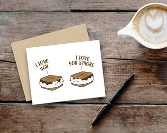 I love you ... I love you s'more // kitty s'mores greeting card // small, blank inside // kraft envelope
