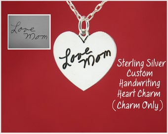 Custom Handwriting Engraved From Your Photo Heart Pendant 925 Sterling Silver Personalized Keepsake, Handwritten - Charm Only