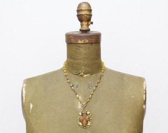 Art Deco Amber Necklace - Vintage 1930s Pendant Necklace