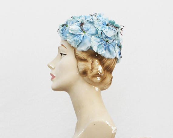 60s Light Blue Floral Hat - Vintage 1960s Flower Calot Hat