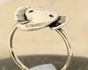 Sterling Silver Elephant Ring - Stack ring - Stackable Animal Band - Handmade