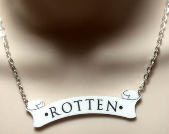 "Harley Quinn tattoo inspired ""ROTTEN"" acrylic necklace"