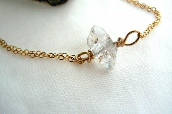 Herkimer diamond bracelet -Gold filled wire wrapped bracelet- Double terminated diamond quartz bracelet-Jewelry gemstone bracelet-Women gift