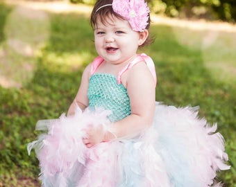 Pink and Aqua Feather Tutu Dress for Toddler, Couture Tutu and Headband, Birthday Feather Dress, Tutu Skirt Toddlers, Photo Prop Dress