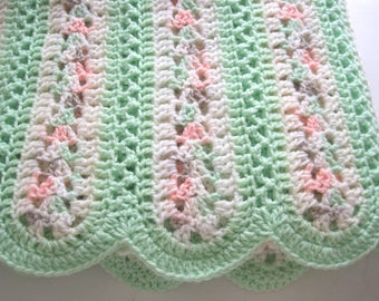 Crochet, Baby Blanket, Newborn, Baby Boy, Baby Girl, Green and Soft Sherbet Colors, Baby Afghan, Baby Shower Gift