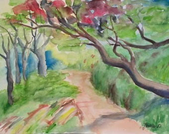 Madeira Landscape, Nature Path, Original Watercolor Painting, Popular Painting, Madeira Path
