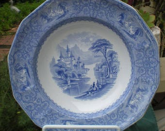 Antique English Blue Transfer Ware Shallow Bowl, Monterey Patternm J Heath, England, Antique Collectible, Wedding Gift, Blue and White, R