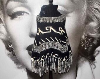vintage 80's wool poncho cape aztec hippie boho black white