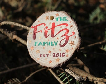 Custom Ornament Personalized Christmas Gift - Watercolor Hand Painted on Wood slice, Family Name and Date, Stars