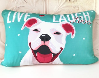 Personalized Pitbull Terrier Art Pillow, Staffordshire Bull Terrier Dog Pillow, - Live Laugh, Love