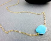 Tiny Turquoise Necklace, Organic Sleeping Beauty Turquoise Gem Slice, Throat Chakra Turquoise Necklace, Gold Fill Chain, December Birthstone