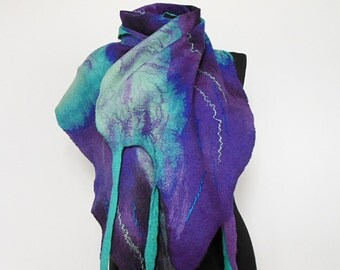 Felted scarf ,hand  felted scarf , wool scarf,  merino wool scarf,mint turquoise,violet, OOAK scarf, one of the kind, unique scarf