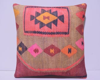 bohemian decor 18x18 kilim pillows boho pillow case boho decor art throw pillow case aztec pillow decorative throw pillow rustic decor 63-45