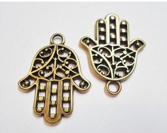 SALE: 2 Brass Hand Drops, Zamak, Fatima's, Hamsa, Khamsa