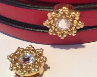 SALE: 10mm Flat Leather Star Slider, Gold and Crystal