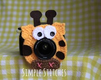 Giraffe Camera Lens Buddy - Crocheted Lens Helper