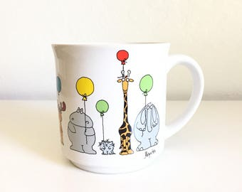 Vintage Sandra Boynton Mug / Animals with Balloons / Animals on Parade Mug / Japanese Mug / Recycled Paper Products