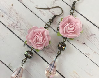 Pink Roses and Crystal Flower Earrings // Bridesmaid Gift Idea // Romantic Jewelry for Her