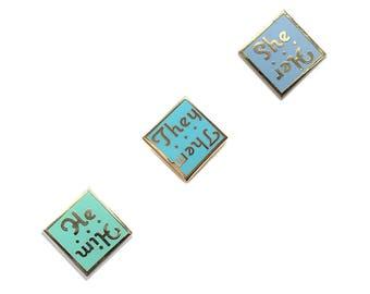 Pronoun Enamel Pins