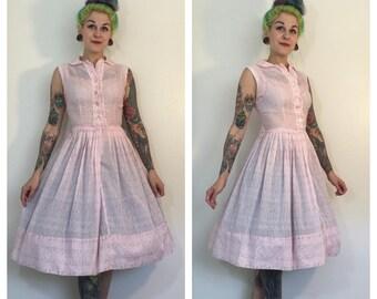 Vintage 1950's Soft Pink Shirtwaist Dress with Tiny Flowers