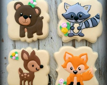 Woodland Decorated Cookies, Forest Animal Decorated Cookies, Birthday Cookies, Fox  Cookies, Deer Cookies, Bear Cookies, Racoon Cookies