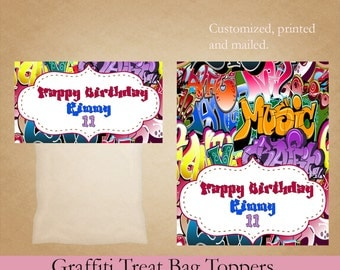 Graffiti Treat Bag Toppers, Birthday Treat Bag Toppers, Cookie Favor Bags, Party Favor, Printed