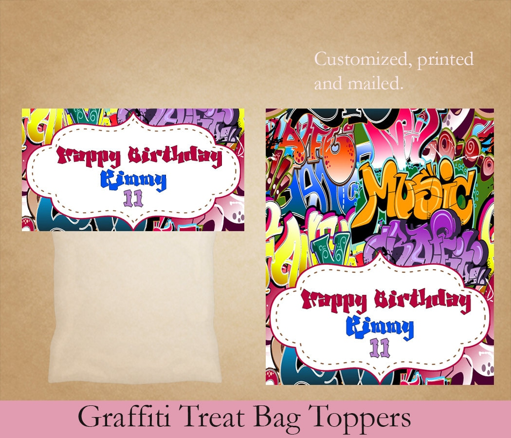 Graffiti Treat Bag Toppers Birthday Treat Bag Toppers Cookie