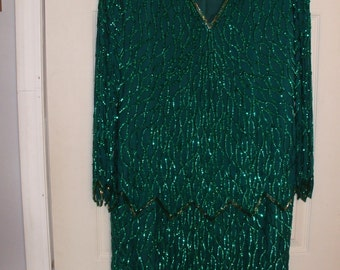 Laurence Kazar sequin long sleeve dress