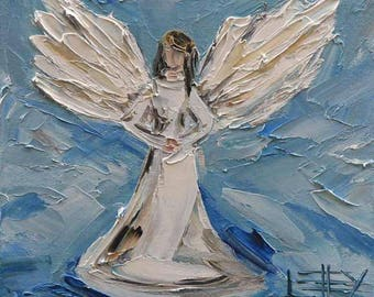 Angel Painting, Commission Art, Angels, Custom Painting, Made to Order, Religious Art, Christian Art, Painting by San Francisco Bay Artist