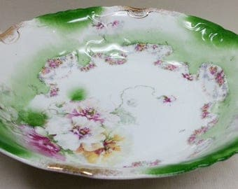 Antique Porcelain Green White Poppy Serving Bowl 10 1/4""
