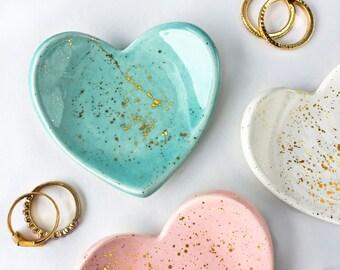 Mini Heart Gold Splatter Ring Dish - Jewelry Dish, Jewelry Holder, Bridesmaid Gifts, Wedding Favors, Modern Pottery