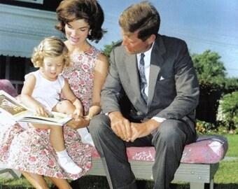 John F. Kennedy ,  John & Jackie Kennedy with Caroline out in the yard.