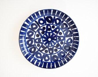 mid century plate, Dansk plate, gorgeous large blue Dansk porcelain platter, Danish modern, mid century modern, vintage