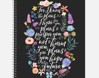 Jeremiah 29:11 Notebook, Waterproof Cover, Bible Journal, School Supplies, Office Supplies, Flower Journal, College Ruled Notebook