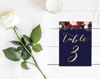 DIY Printable Watercolour Floral Wedding Table Number | Calligraphy Script | Navy, Gold and Burgundy
