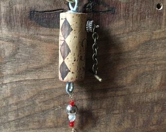 Wine Cork Key Chain Rustic Reclaimed