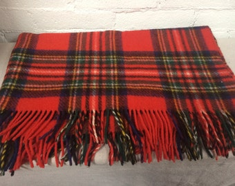 Vintage, Plaid Red, Forest Green, Navy Blue and Yellow Wool Throw