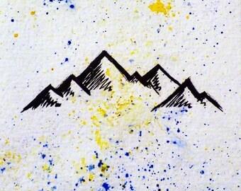 Mountain Range watercolor